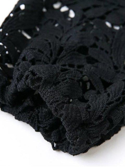 buy Crochet Off The Shoulder T-Shirt - BLACK M Mobile