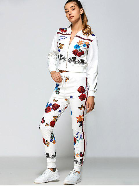 sale Roses Printed Zipper Up Top+Pants - WHITE S Mobile