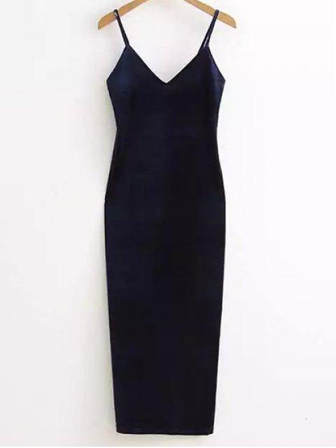 Side Furcal Velour-Beleg-Kleid - Cadetblue Eine Größe Mobile