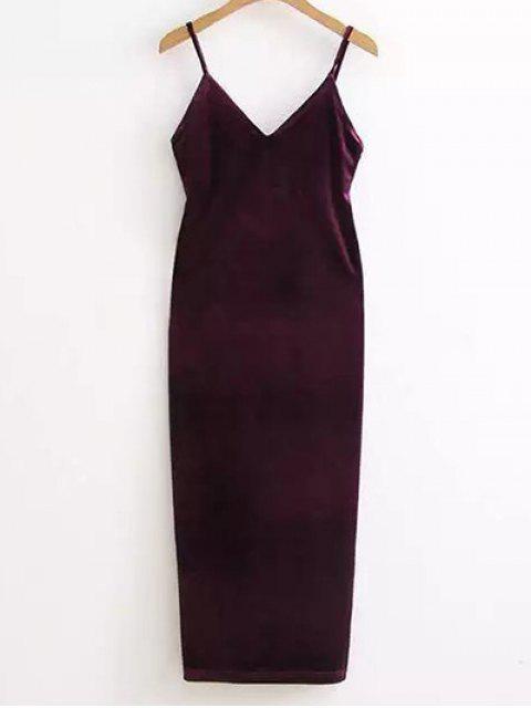 Side Furcal Velour-Beleg-Kleid - Weinbeere Eine Größe Mobile