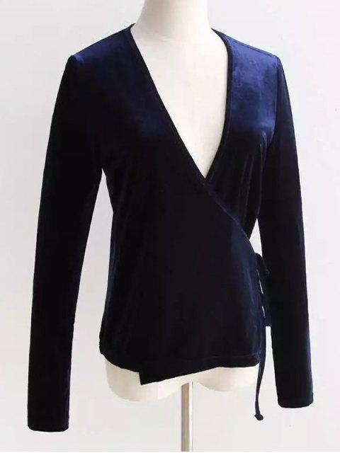 fashion Velour Wrap Top - CADETBLUE ONE SIZE Mobile