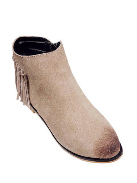 shop Flat Heel Fringe Suede Ankle Boots - LIGHT CAMEL 39 Mobile