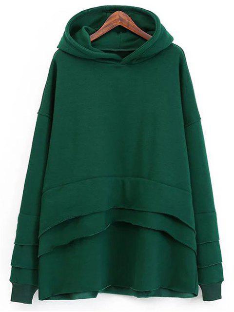 Pull-over en laine à capuche et à effet superposé - Vert TAILLE MOYENNE Mobile
