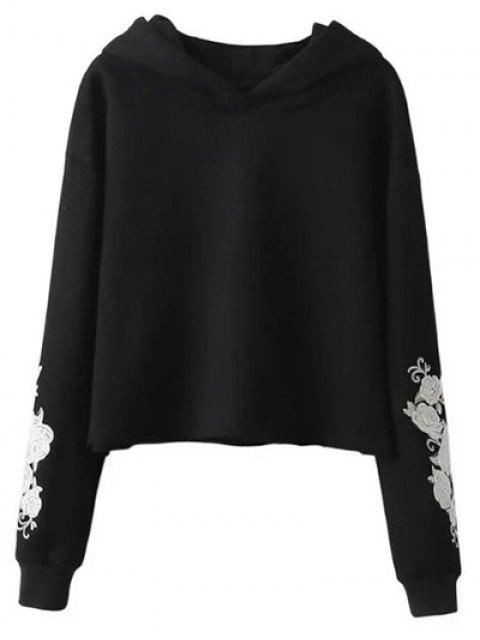 women's Rose Embroidered Hoodie - BLACK L Mobile