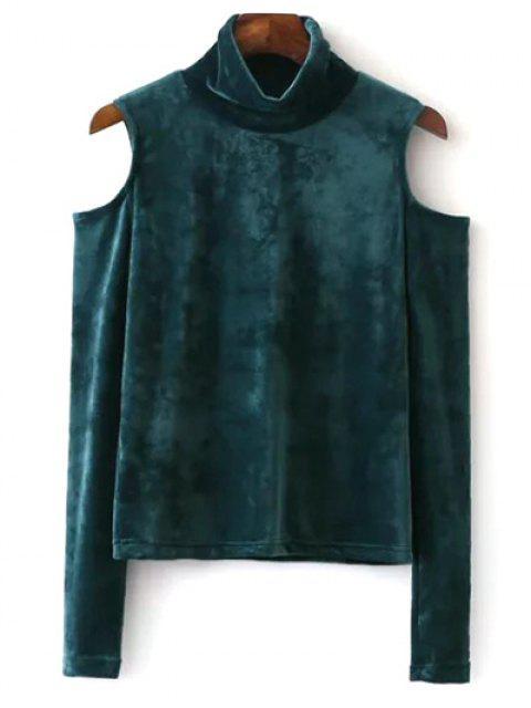 ladies High Neck Cold Shoulder Velour T-Shirt - GREEN S Mobile