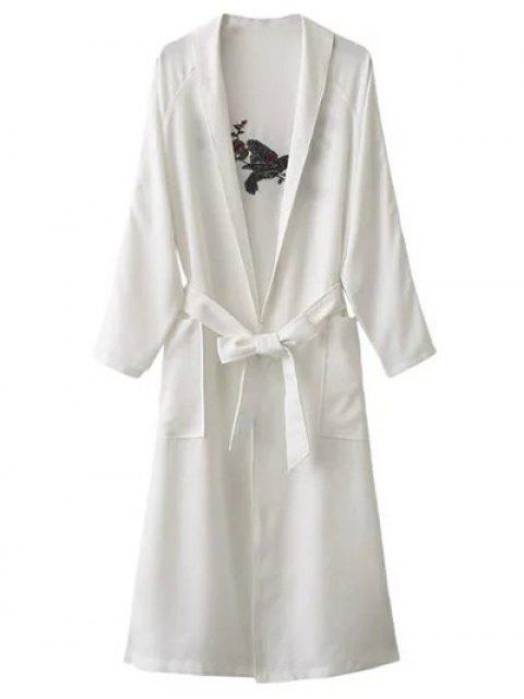 sale Floral Embroidered Belted Duster Coat - WHITE ONE SIZE Mobile