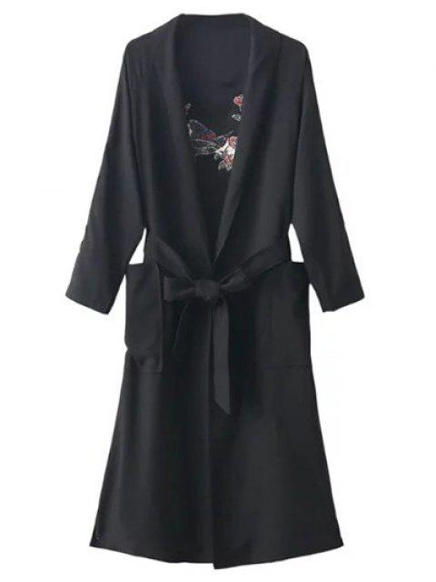 buy Floral Embroidered Belted Duster Coat - BLACK ONE SIZE Mobile