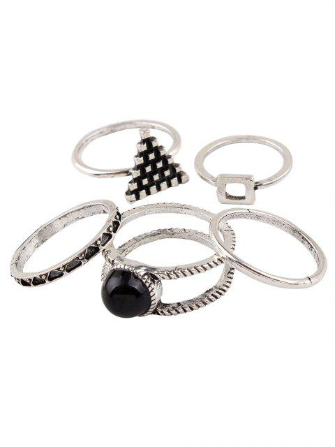 unique Burnished Geometric Ring Set -   Mobile
