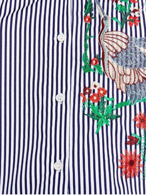 unique Flower Embroidered Striped Shirt - STRIPE S Mobile