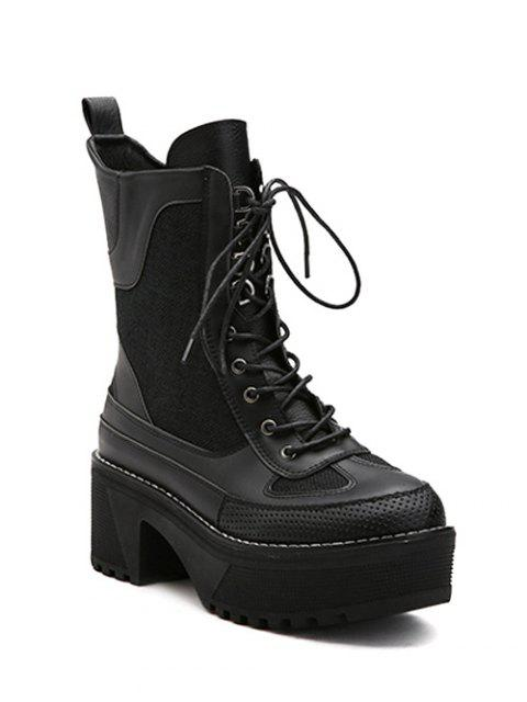 shops Splicing Platform Lace-Up Combat Boots - BLACK 38 Mobile