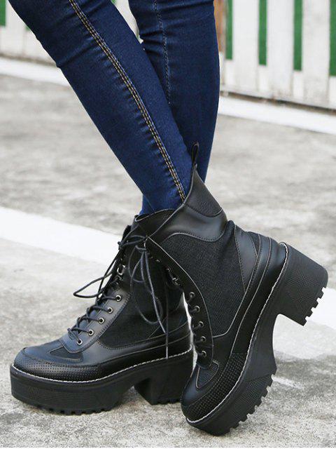 shops Splicing Platform Lace-Up Combat Boots - BLACK 38 Mobile
