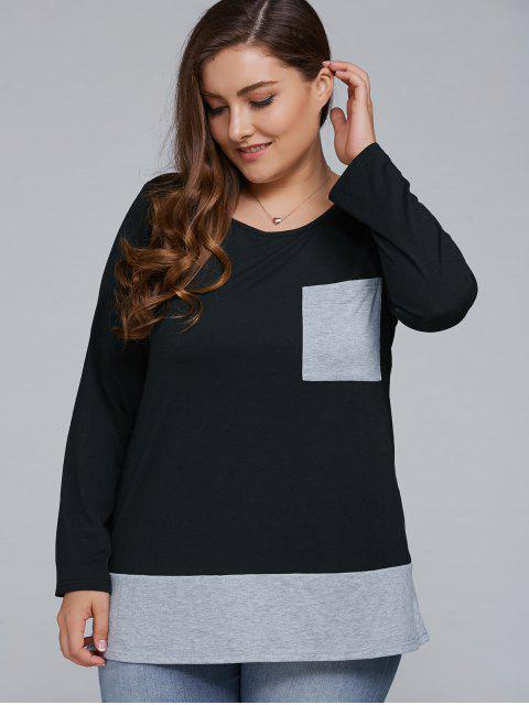 unique One Pocket Plus Size Pullover - BLACK AND GREY 4XL Mobile