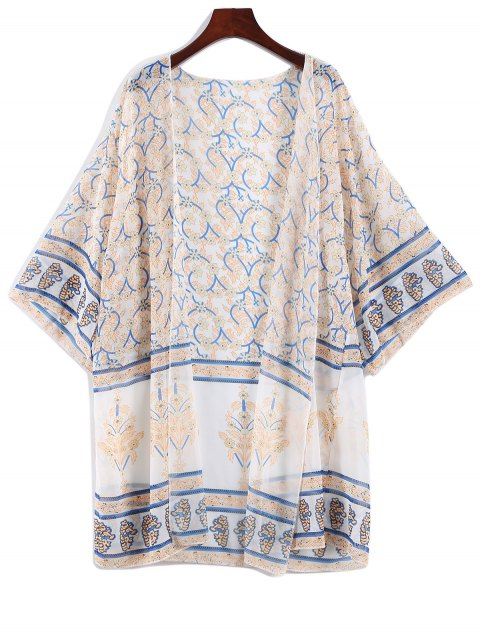 women's Printed Bohemian Chiffon Cover Up - APRICOT ONE SIZE Mobile