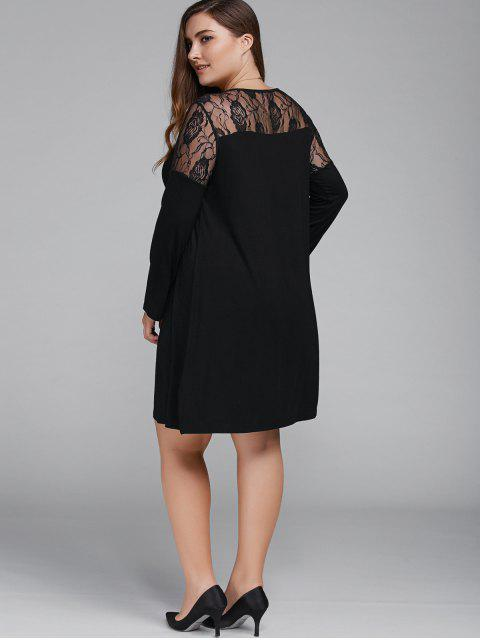 online Plus Size Long Sleeves Lace Patchwork Dress - BLACK XL Mobile
