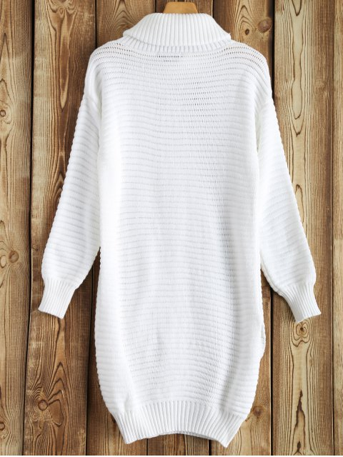 new Side Furcal Turtle Neck Sweater Dress - WHITE L Mobile