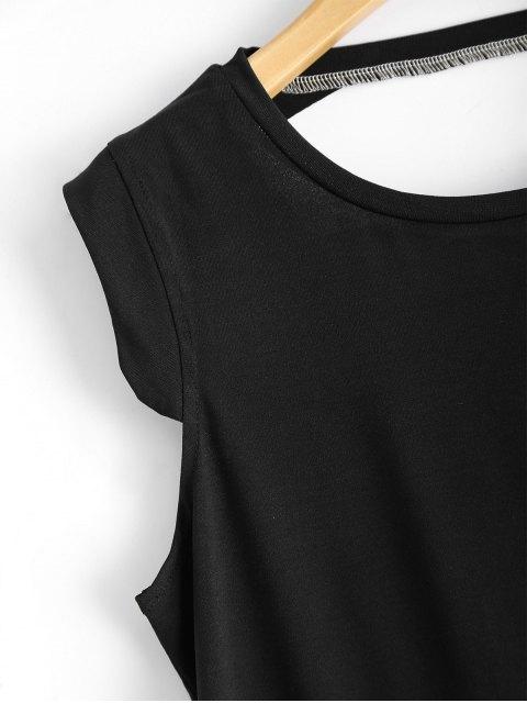 womens Sleeveless Back Cutout T Shirt - BLACK S Mobile