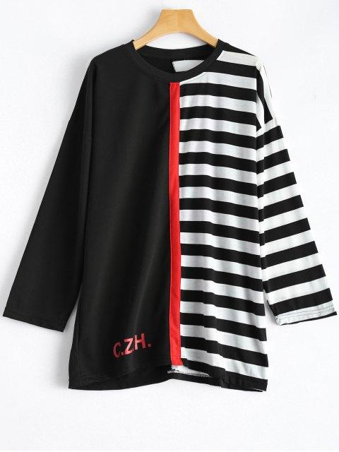 Rayas del bloque del color de la camiseta - Blanco y Negro Única Talla Mobile