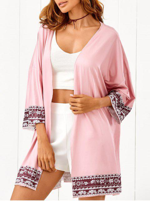 lady Printed Beach Cover Up - PINK ONE SIZE Mobile