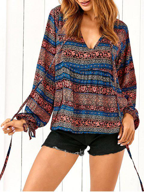 fancy Bohemian Loose Printed Blouse - BLUE 2XL Mobile
