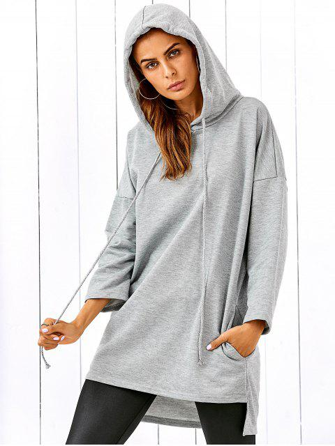fashion Drop Shoulder Step Hem Slouchy Hoodie - GRAY L Mobile