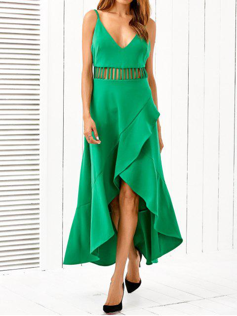 women Low Cut Asymmetric Dress - GREEN L Mobile