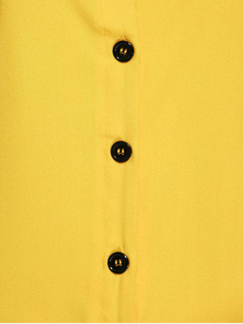 latest Buttoned Wide Leg Jumpsuit - YELLOW S Mobile