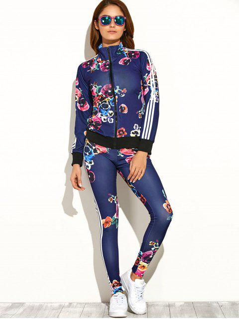 women Flower Printed Zipper Up Top+Pants - DEEP BLUE S Mobile