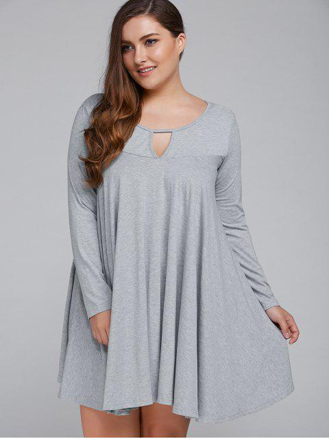 latest Plus Size Keyhole Neck Dress - LIGHT GRAY XL Mobile