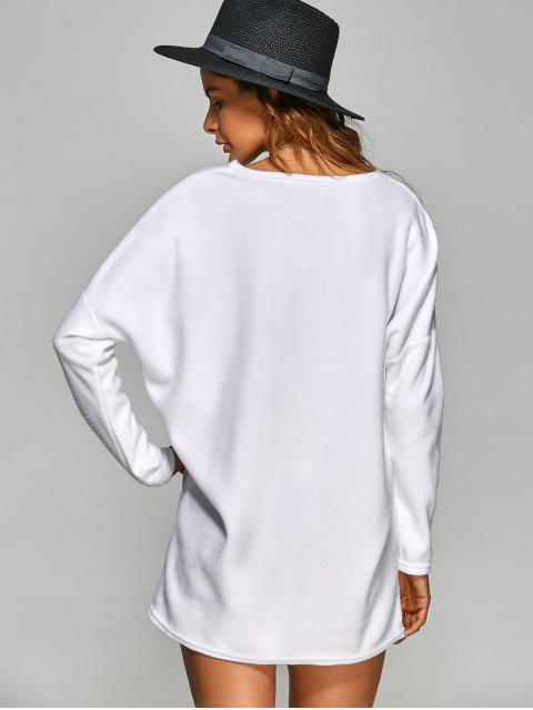 hot Loose Long V Neck Sweater - WHITE M Mobile