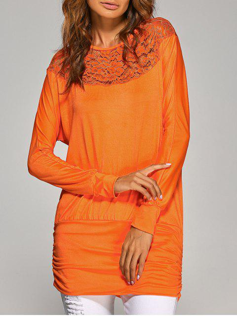 Sleeve Lace Yoke long T-shirt - Orange S Mobile