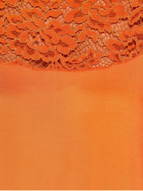 women Lace Yoke Long Sleeve T-Shirt - ORANGE S Mobile