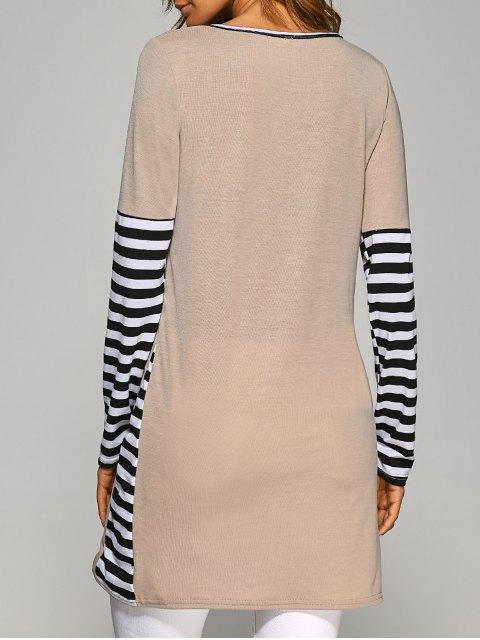 Robe à manches longues contrastante et rayé à manches longues - Kaki M Mobile