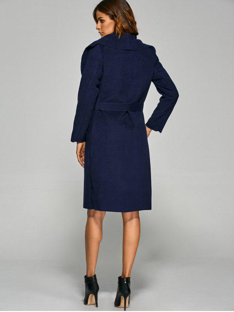 ladies Shawl Lapel Belted Wrap Coat - PURPLISH BLUE XL Mobile