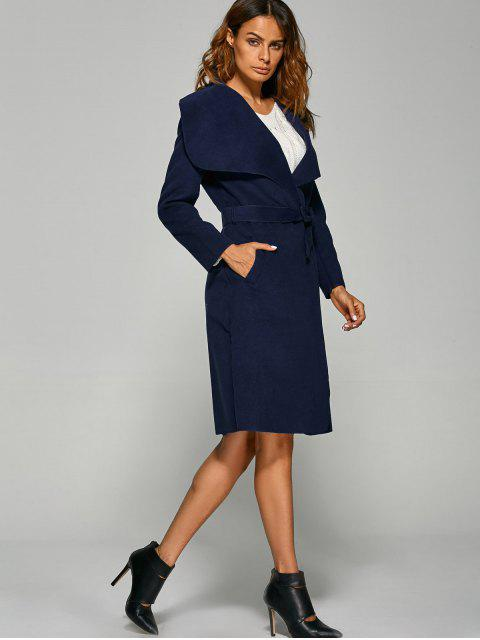 women's Shawl Lapel Belted Wrap Coat - PURPLISH BLUE 2XL Mobile