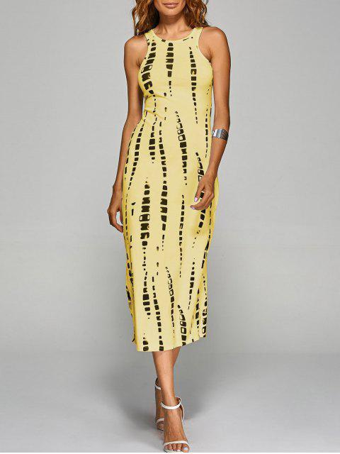 Gebatikte Zurück Ausschnitte figurbetontes Kleid - Gelb M Mobile