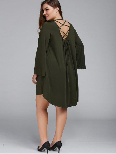 Plus Size Lace Up Flare robe manches - Vert Olive   3XL Mobile