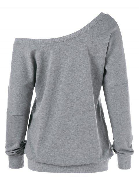 women Graphic Pattern Skew Collar Sweatshirt - GRAY XL Mobile