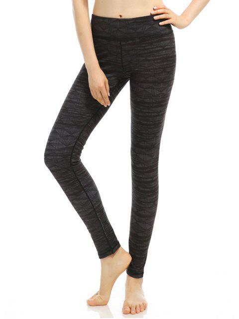 best Geometric Stretchy Print Leggings - BLACK GREY M Mobile