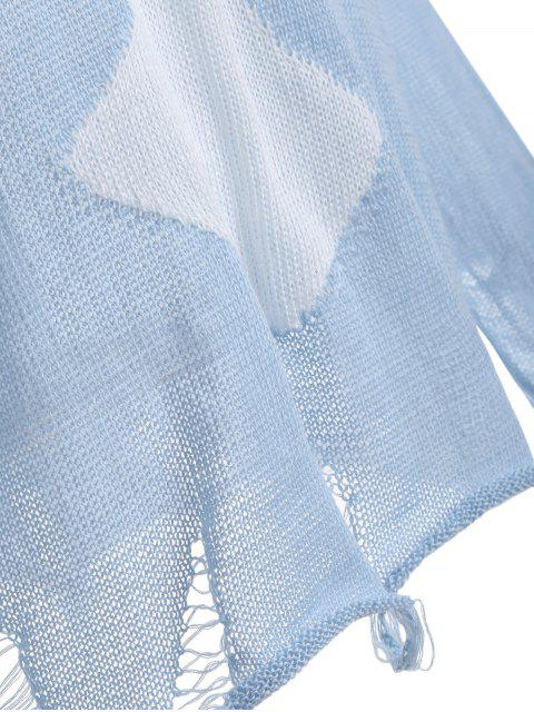 hot Elk Pattern Distressed Knitwear - LIGHT BLUE L Mobile