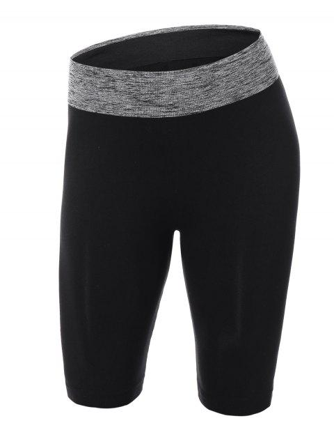 unique Knee Length Skinny  Yoga Shorts - BLACK S Mobile