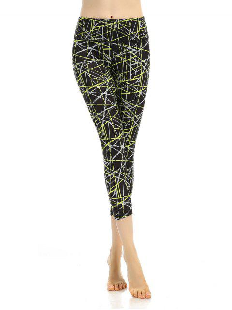 fashion Printed Elastic Waist Sporty Cropped Leggings - BLACK S Mobile