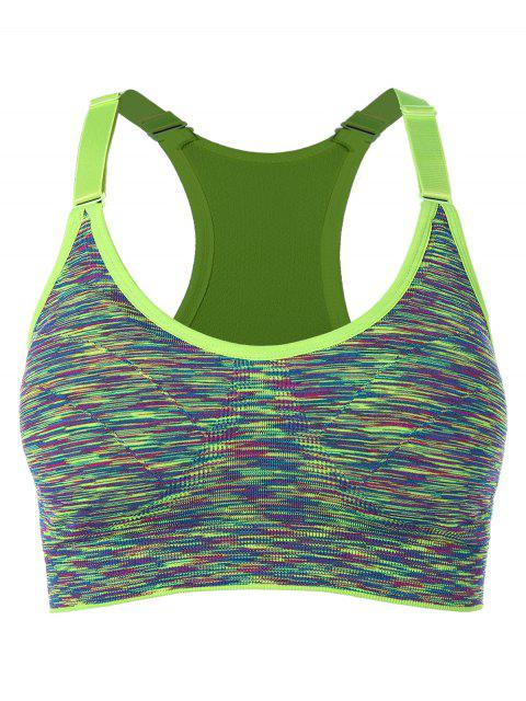 fancy Racerback Cut Out Back Sports Bra - GREEN L Mobile