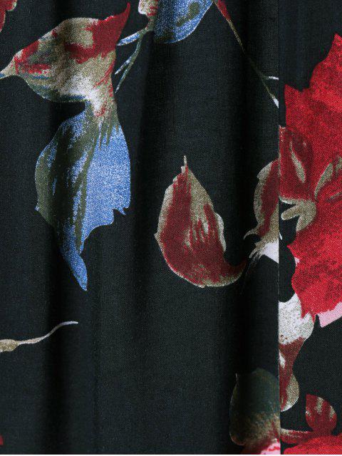 online Flower Pattern Layered Blouse - BLACK M Mobile