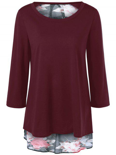 hot Flower Pattern Layered Blouse - WINE RED L Mobile