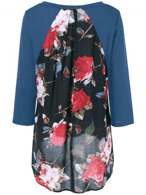 shops Flower Pattern Layered Blouse - MEDIUM BLUE M Mobile
