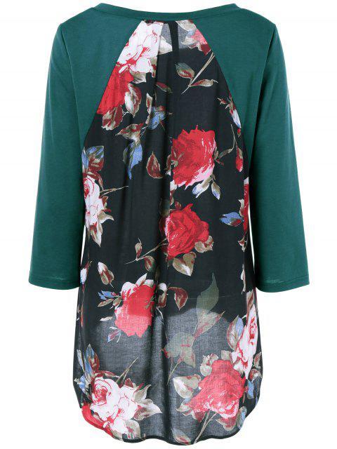 fashion Flower Pattern Layered Blouse - JADE GREEN M Mobile