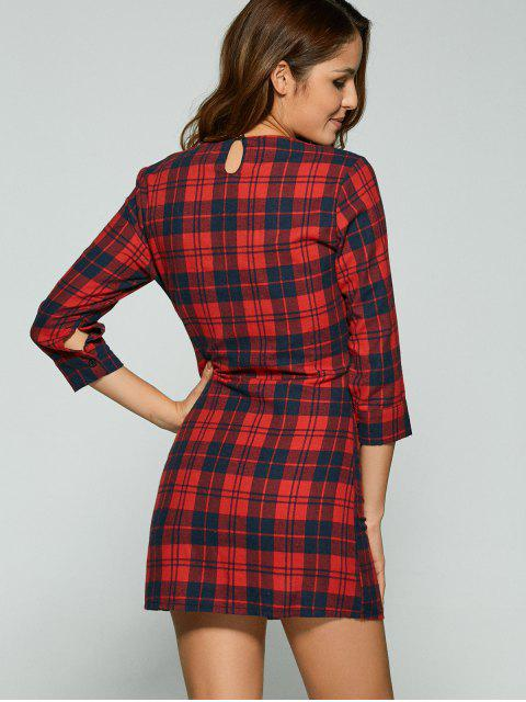 unique 3/4 Sleeve Mini Plaid Casual Dress - RED XL Mobile