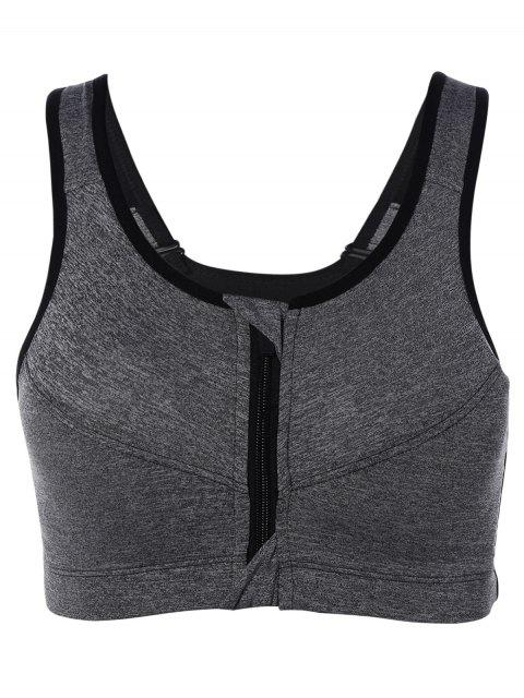 shop Zip Up Cut Out Sports Bra - GRAY S Mobile