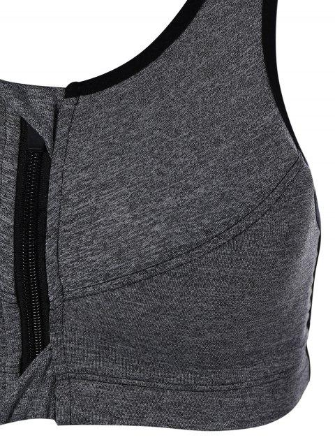 outfits Zip Up Cut Out Sports Bra - GRAY M Mobile
