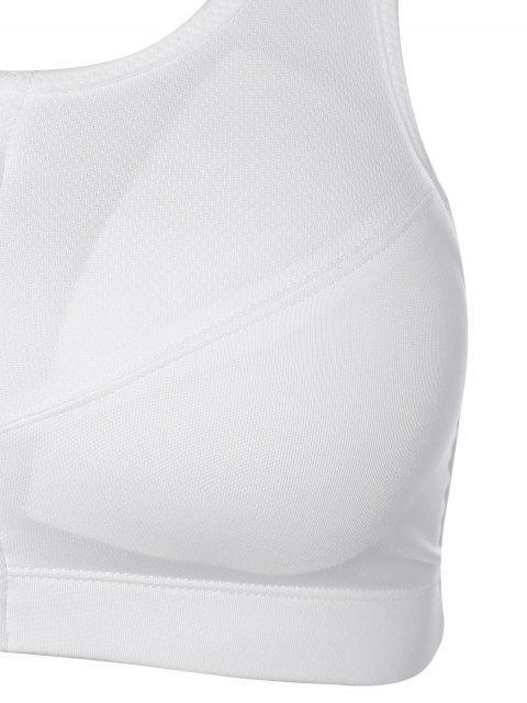 fashion Zip Up Cut Out Sports Bra - WHITE L Mobile